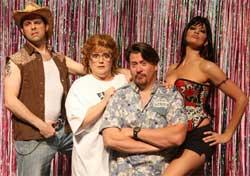 Christopher A. Kent, Margot Moreland, Stephen G. Anthony and Kelly Atkins tangle in a trailer park in The Great American Trailer Park Musical at Actors' Playhouse.