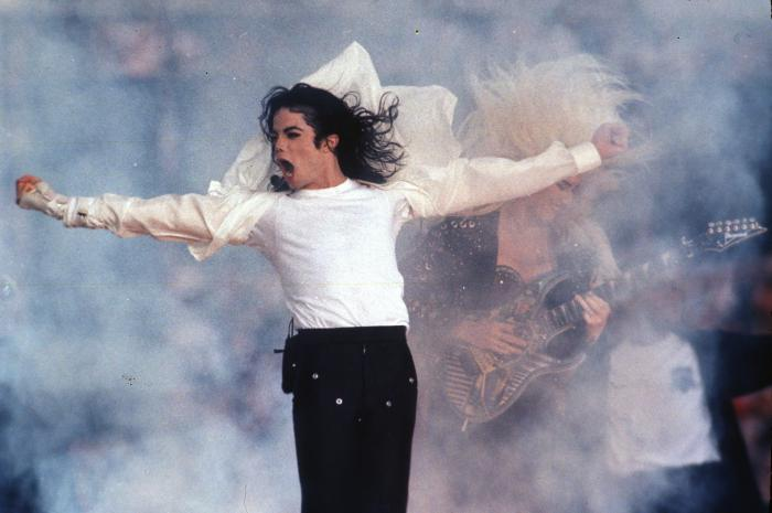Michael Jackson performs during the halftime show at the Super Bowl in Pasadena, Calif. in 1993.