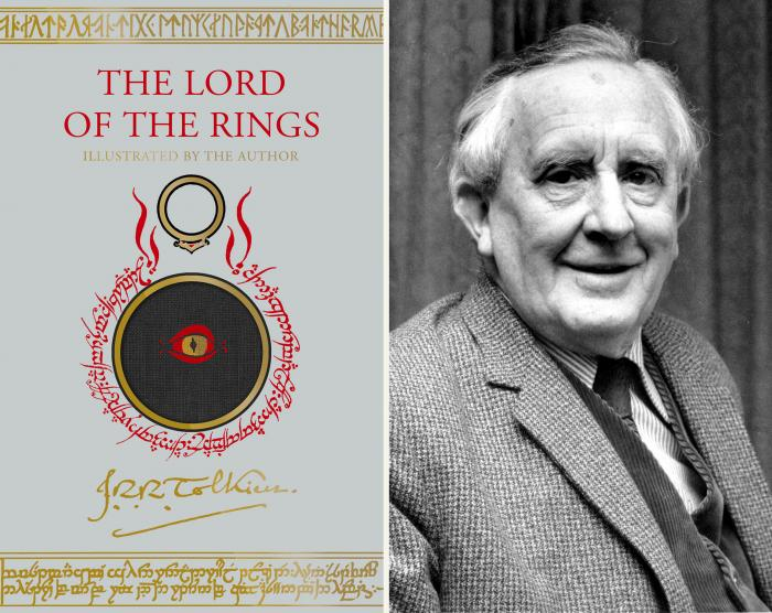 """An upcoming edition of J.R.R. Tolkien's """"The Lord of the Rings"""" trilogy, left, and a 1967 photo of Tolkien."""