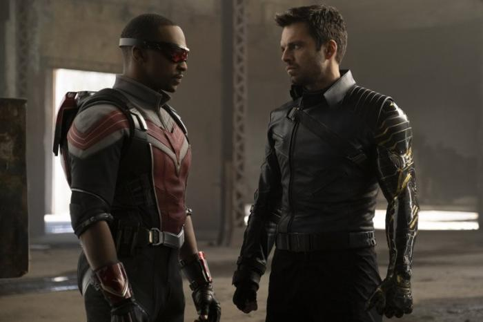 Anthony Mackie, left, and Sebastian Stan in a scene from 'The Falcon and the Winter Soldier'