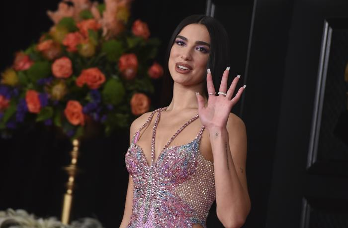Dua Lipa arrives at the 63rd annual Grammy Awards at the Los Angeles Convention Center.