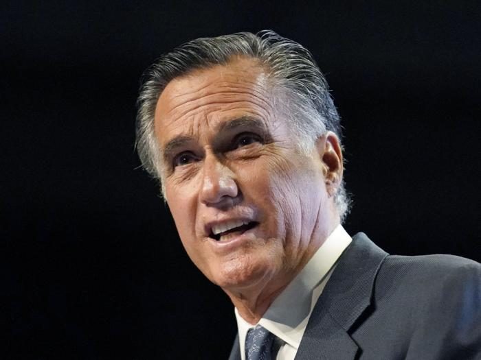 Sen. Mitt Romney addresses the Utah Republican Party 2021 Organizing Convention Saturday, May 1, 2021, in West Valley City, Utah. Romney was booed as he addressed the Utah GOP convention