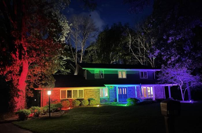 The home of Memo Fachino and Lance Mier lit for Pride.