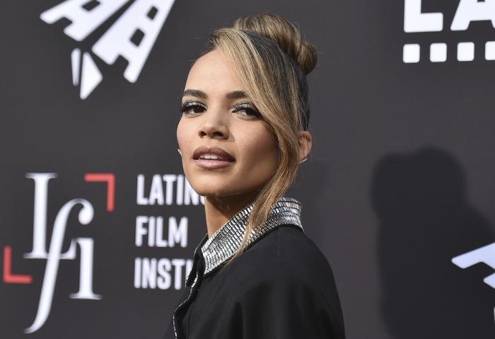 """Leslie Grace arrives at a screening of """"In the Heights"""" during the Los Angeles Latino International Film Festival"""