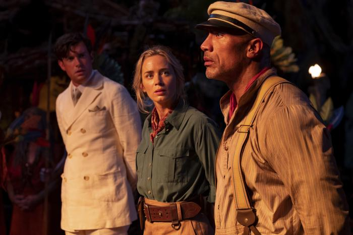 """This file image provided by Disney shows, from left, Jack Whitehall, Emily Blunt and Dwayne Johnson in a scene from """"Jungle Cruise."""" (Disney via AP, File)"""