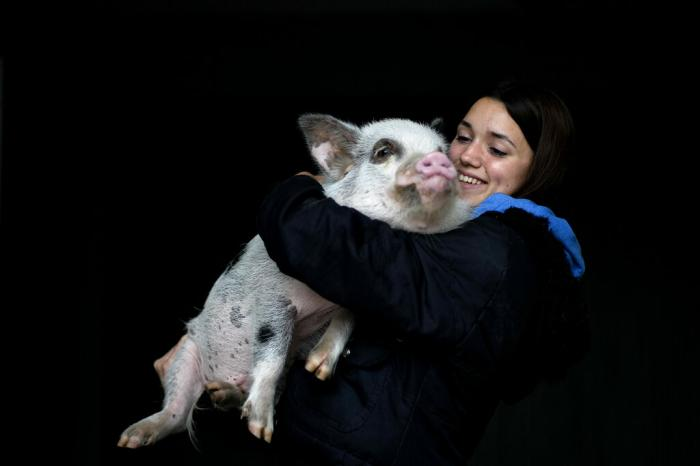 Luciana Benetti, 16, holds her pet pig Chanchi.